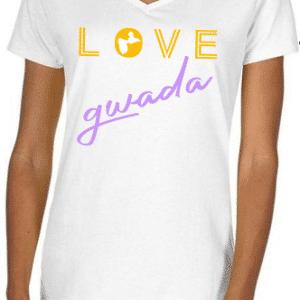 tee shirt love gwada blanc